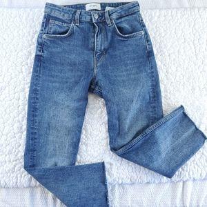 TRF Zara Denim High Rise Fray Crop Stretch Jeans